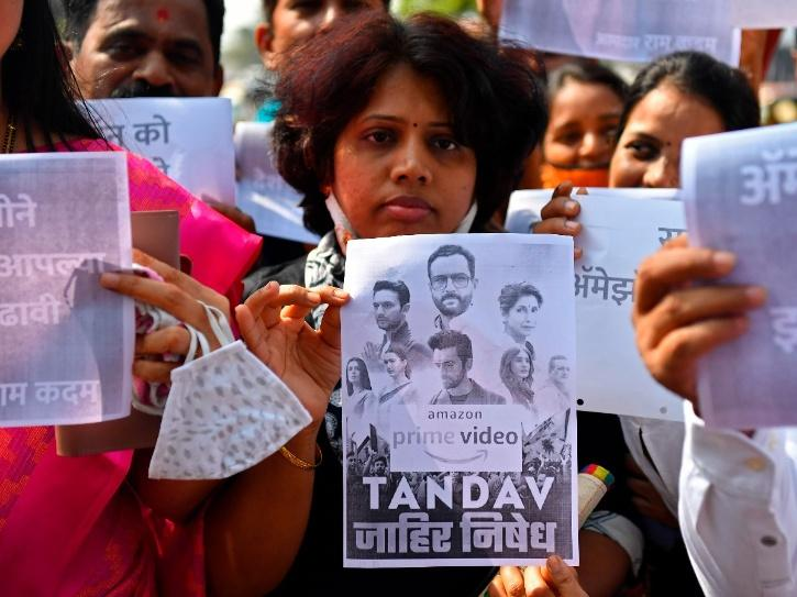 BJP supporters protest against Tandav.