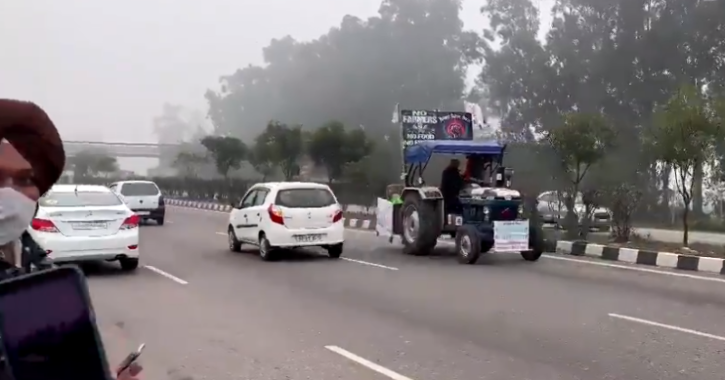 Amid the protests and preparations for the tractor rally, a farmer from Punjab reached Delhi on his tractor in reverse gear. T