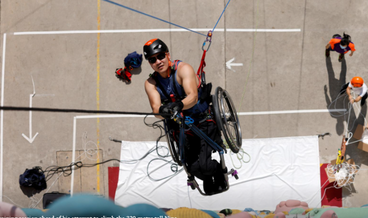 The 37-year-old climber, whose car accident 10 years ago left him paralyzed from waist down
