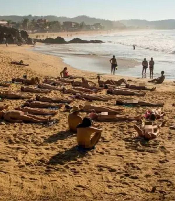On the beach nude Public Sex