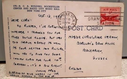 The postcard reveals 'Uncle Fred' was sent a pair of Dutch clogs