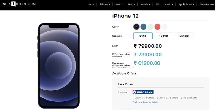 iphone 12 india discount price