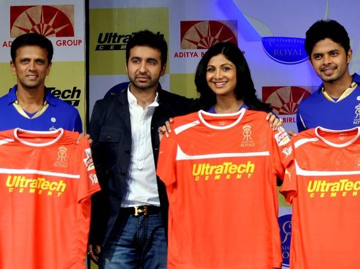 Shilpa Shetty and Raj Kundra with Rajasthan Royals.