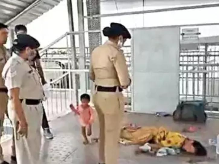 woman and kid found on the platform
