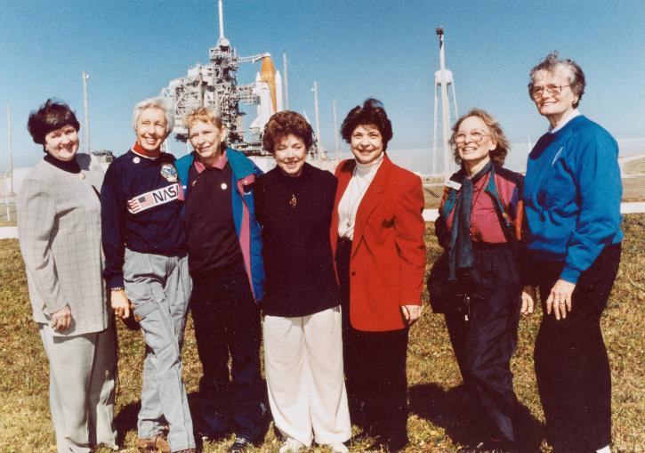 Gene Nora Jessen, Wally Funk, Jerrie Cobb, Jerri Truhill, Sarah Rutley, Myrtle Cagle and Bernice Steadman members of Mercury 13