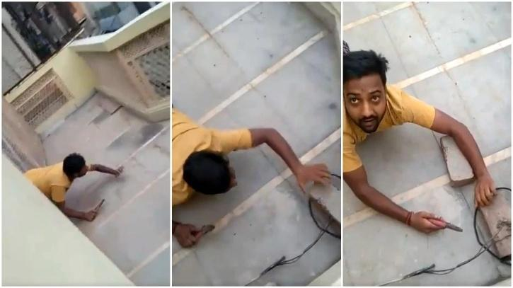 Man caught by lineman while snipping illegal power cable.