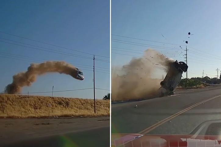 car flying through California power lines, crashing onto road