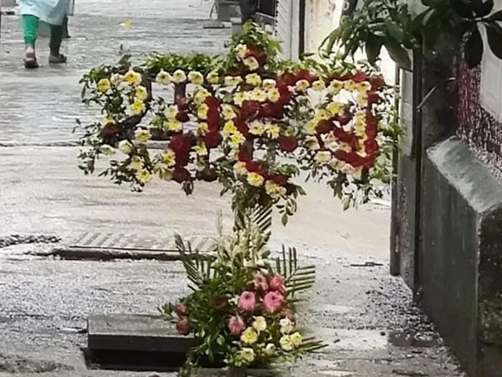 flowers covering a manhole