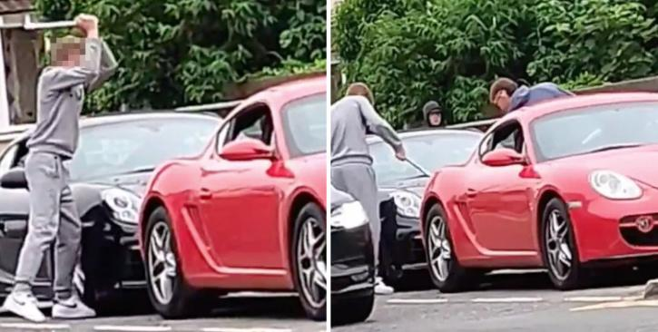 man smashes up Porsche in broad daylight