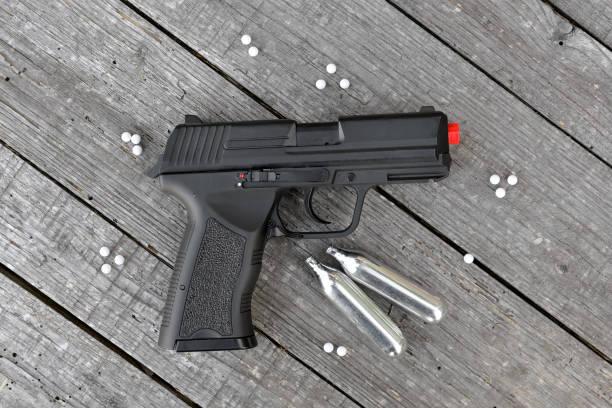 an air soft gun with fake bullets