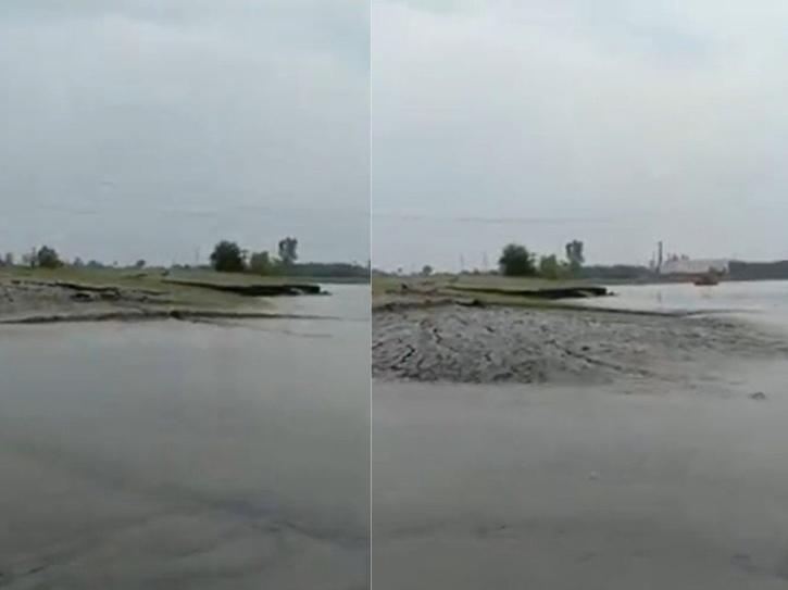 Shocking video of land rising over water body