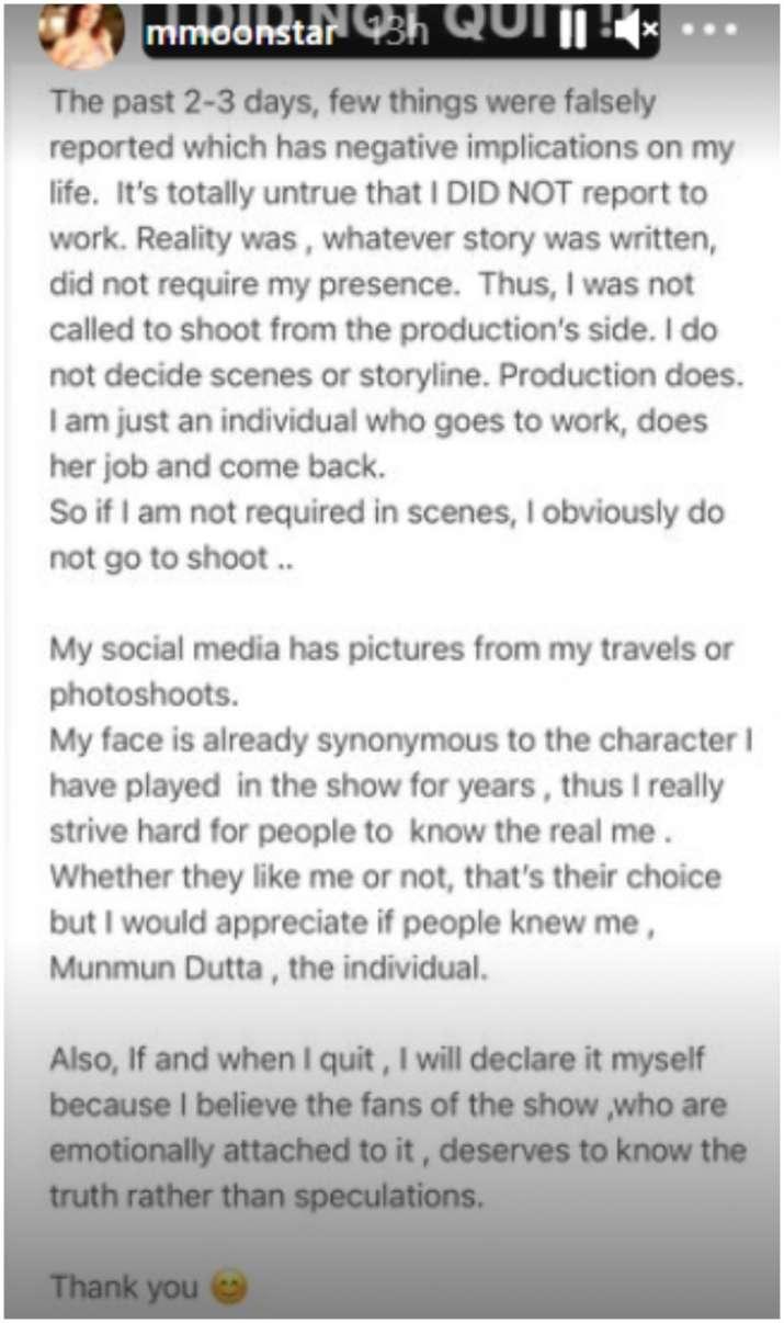 Munmun Dutta Reacts To The Rumours Of Quitting Taarak Mehta Ka Ooltah Chashma After Her Casteist Remark