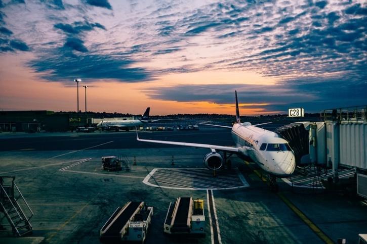 plane at an airport at night
