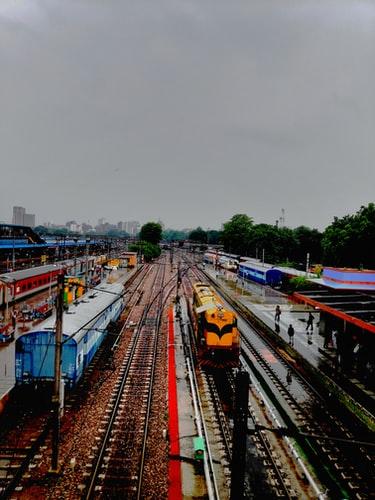 trains on railway station