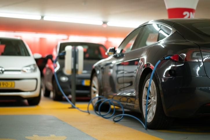electric cars getting charged
