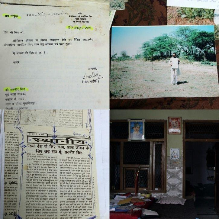 From left to right: A glimpse of letter written by Singh, A photograph of Singh standing on his farm, A newspaper cutting about Singh,Singh
