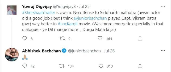Abhishek Bachchan Reacts As A Fan Says He Played Captain Batra Way Better Than Sidharth Malhotra