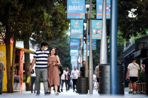 A Couple walks in Baku, Euro 2020
