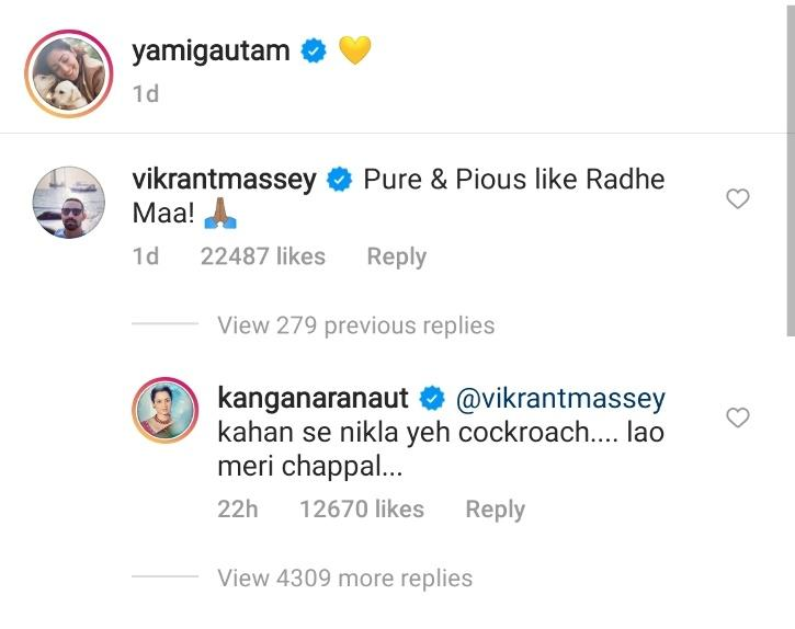 Kangana Raanut calls Vikrant Massey cockroach.