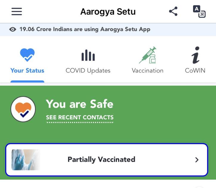 Aarogya Setu app status