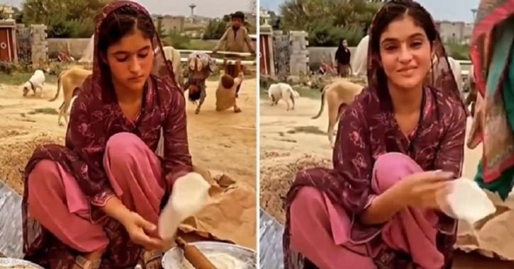 Video of a young girl smiling and making rotis has gone viral