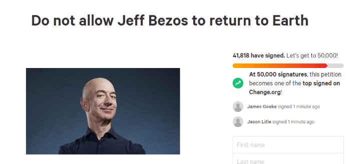 jeff bezos petition