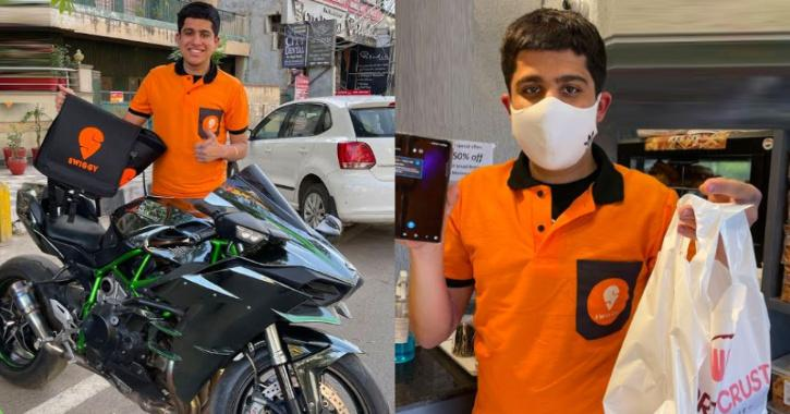 Kawasaki H2 owner delivers Swiggy orders on his superbike