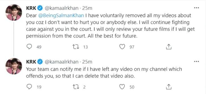 KRK Steps Back, Deletes Salman Khan's Videos From His You Tube Channel, Says I Don't Want To Hurt You