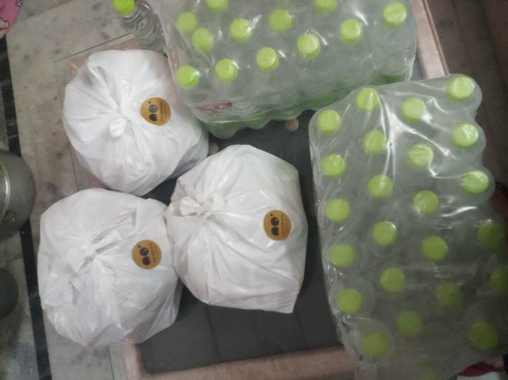 Momo packets water bottles