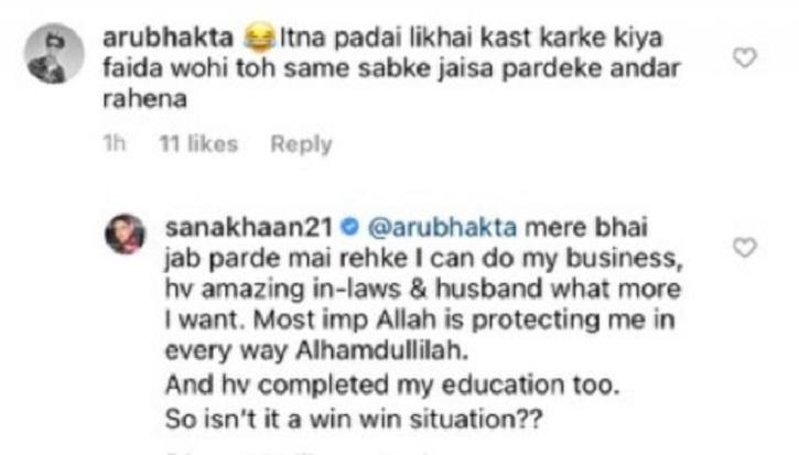 Sana Khan Trolled For Wearing Hijab Despite Being Educated, She Hits Back With Befitting Reply