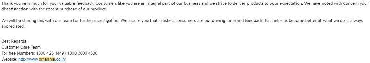 mail from Britannia biscuits