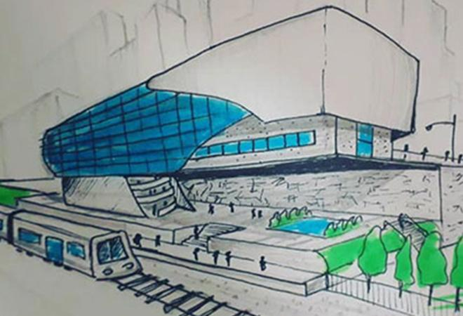 The train station or MRT terminal is inspired by the stepler shape.