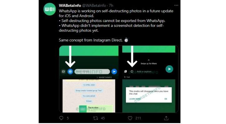 whatsapp self-destructing image feature