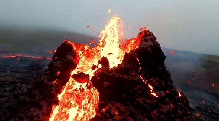 iceland volcano drone video