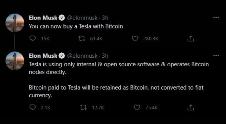 Elon Musk Tweets tesla bitcoins