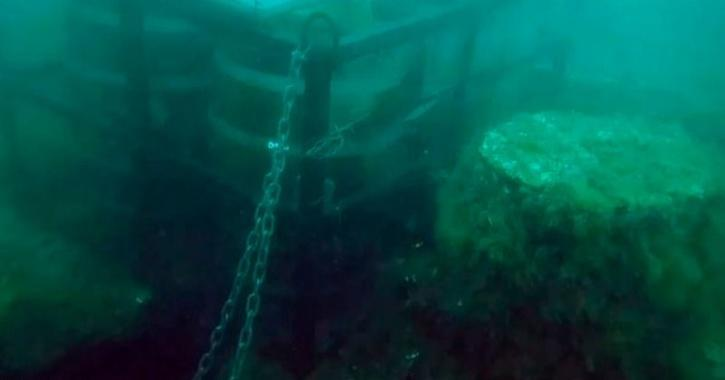 Barrels of artisan beer were stashed underwater and attached to the remains of a sunken fishing vessel