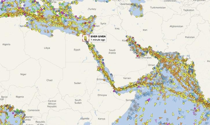 A screengrab of long traffic jam on both sides of the Suez Canal caused after the Ever Given container ship was stuck sideways