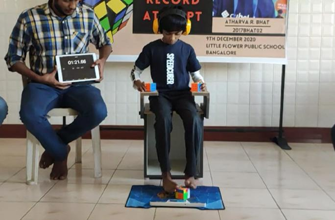 The removal of the cube solving with the feet event from official WCA status spurred Atharva