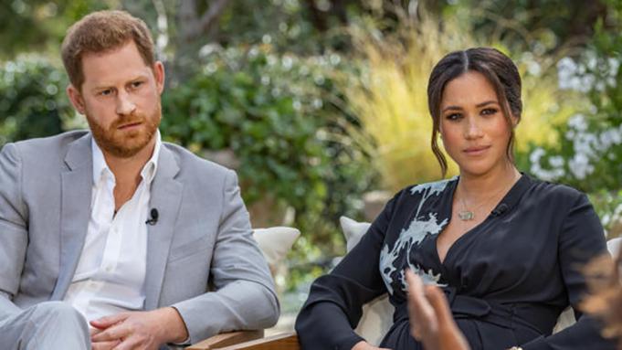 Prince Harry and Meghan Markle opposite Oprah / CBS