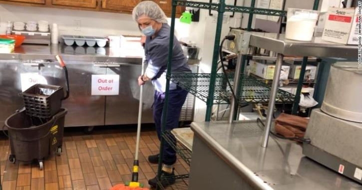 Lisa Racine works part-time at the nursing home where her dad lives, so she can spend time with him after her shifts.