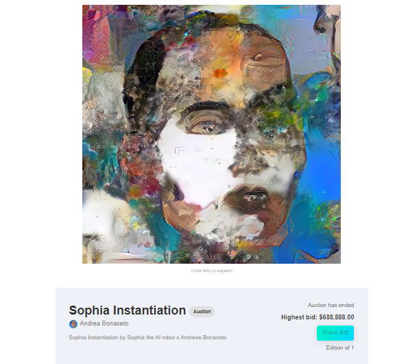 Sophia the Robot First AI painting sold at auction on the digital art marketplace Nifty Gateway
