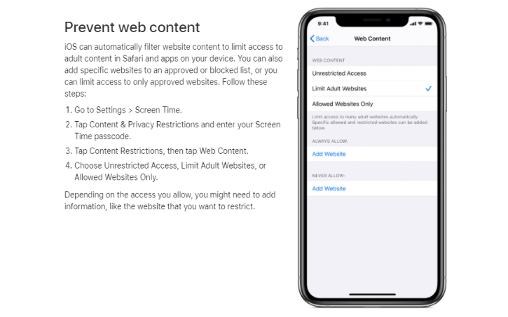 iOS can automatically filter website content to limit access to adult content in Safari and apps on your device.