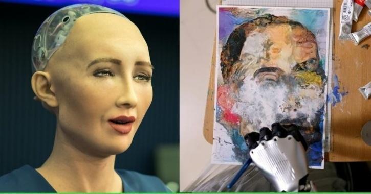 sophia robot painting