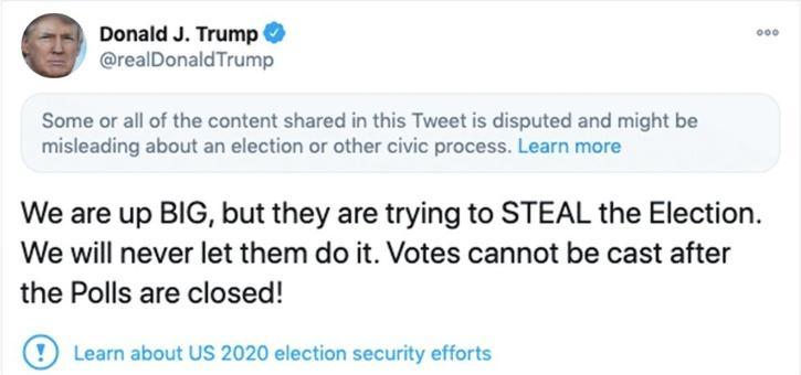 Trump tweet misinformation US Presidential election 2020