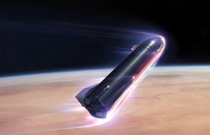 Starship will enter Mars' atmosphere at 7.5 kmps and decelerate aerodynamically. SpaceX says the vehicle's heat shield is designed to withstand multiple entries