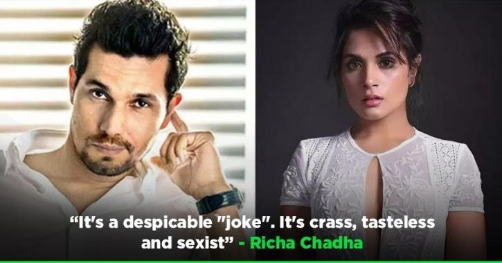 Richa Chadha Slams Randeep Hooda's Joke On Mayawati, Calls It Crass, Tasteless & Sexist