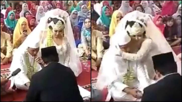 bride gets excited after groom says