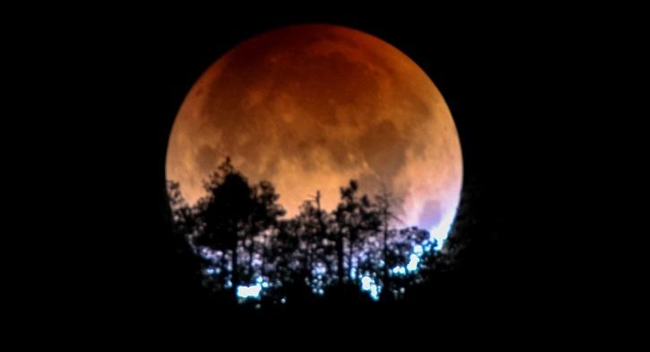 A lunar eclipse occurs when the Earth lines up between the Moon and the Sun. That way, the Moon is hidden from the sunlight. When the Sun, the Moon and the Earth align in one straight line, the phenomenon of total lunar eclipse occurs.