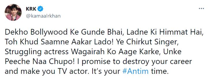 KRK says he will make Salman Khan a TV actor.