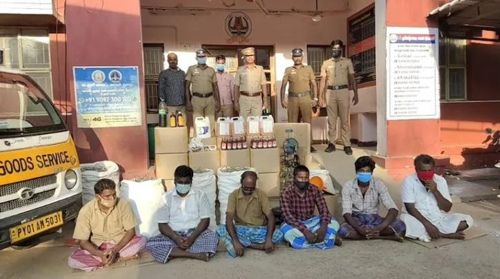 Men caught for making alcohol from sanitisers